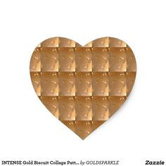 INTENSE Gold Biscuit Collage Pattern Graphic GIFTS Heart Sticker