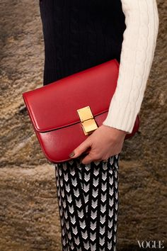 Celine red handbag from Paris boutique
