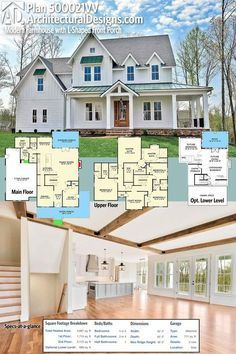 Introducing Architectural Designs Modern Farmhouse Plan 500021VV! I'd square off the master and turn the small part of the closet into a bedroom for bed 4.