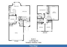 Naval Complex San Diego – Vista Ridge Neighborhood: 4 bedroom 3 bathroom home floor plan.