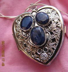 Raw Sapphires Heart Shaped Music Box Locket with by VanityJewelBox