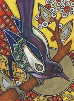Art Nouveau Magpie Raven Bird Animal Art Giclee by LynnetteShelley, $30.00
