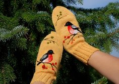 Knitted Wool Mittens with birds Christmas gift by MySunsetColor, $39.50
