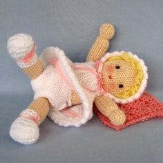 Little Daisy doll knitting pattern INSTANT image 4 Knitted Doll Patterns, Knitted Dolls, Crochet Dolls, Knitting Patterns, Knitted Baby, Knitting Dolls Clothes, Sewing Toys, Arm Knitting, Double Knitting