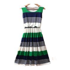 Green Round Neck Sleeveless Striped Mid Waist Dress ($31) ❤ liked on Polyvore