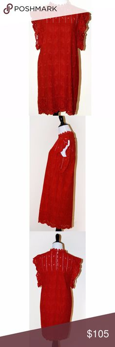 """Anthropologie Tularosa Red Lace Tunic Dress Delicate lace and flutter sleeves make this tunic dress a feminine must-have for summer.  New without tag sample sale  Viscose; cotton lining Flutter sleeves Button back Hand wash Imported Falls 33.5"""" from shoulder  Red mini dress Anthropologie Dresses Mini"""