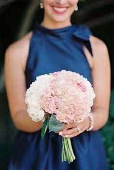 Bridesmaid's Bouquet Of: White & Pink Hydrangea