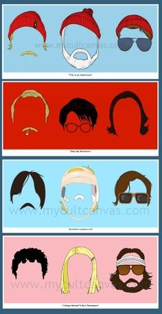Anderson Faces Series 1-4 Rushmore Royal Tenenbaums Darjeeling Limited Life Aquatic Art Print Posters