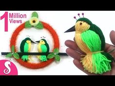 DIY Woolen Birds Wall Hanging for Home Decoration. Here is come with new wall hanging design for home decore. Jute Crafts, Pom Pom Crafts, Bird Crafts, Art For Kids, Crafts For Kids, Wall Hanging Designs, Craft From Waste Material, Woolen Craft, How To Make Christmas Tree