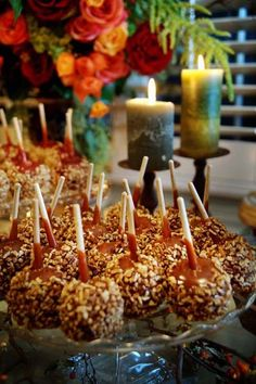 caramel apples wedding desserts, table candle wedding decor, October wedding table centerpiece #Valentines wedding dessert #wedding candies #wedding centerpiece www.dreamyweddingideas.com