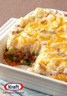 Shepherd's Pie – This version of a traditional shepherd's pie is made with better-for-you ingredients—like carrots, corn, and peas. Complete with extra-lean ground beef, sour cream, and KRAFT Natural Sharp Cheddar Cheese, the whole family is going to enjoy this Healthy Living recipe on the dinner table!