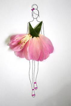 Floral Art in pink and green Art Floral, Floral Fashion, Fashion Art, Deco Nature, Pressed Flower Art, Leaf Art, Flower Dresses, Flower Petals, Diy Art