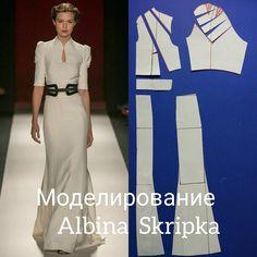"""1,656 Likes, 33 Comments - Альбина Скрипка (@albinaskripka) on Instagram: """"И снова моделирование!!!! На этот раз платье с рельефами , цельновыкроенной воротником и рукавчиком…"""""""