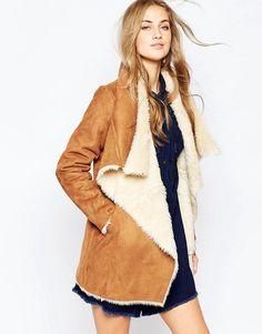 Image 1 ofPull&Bear Faux Fur Waterfall Jacket