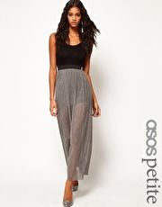 ASOS PETITE Exclusive Metallic Maxi Dress With Strap Back