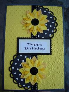 Sunflower Greetings Card making Homemade Greeting Cards, Greeting Cards Handmade, Homemade Cards, Making Greeting Cards, Fun Fold Cards, Folded Cards, Handmade Birthday Cards, Happy Birthday Cards, Sunflower Cards