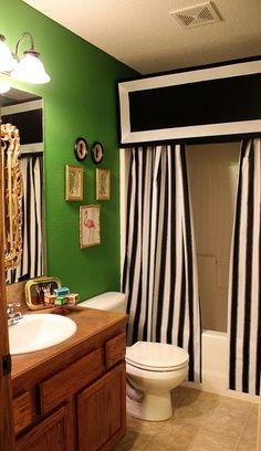 diy black white stripe drapes   ... Chic: Black and White Stripes DIY shower curtain and pelmet box