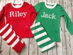 Personalized Christmas Pajamas for babies, toddlers, & children.  Striped pajamas (Red or Green) on Etsy, $35.00
