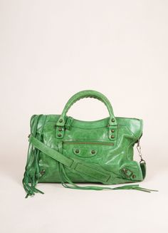 """Green and Brass Toned Crackle Leather Stud Accent Motorcycle """"City"""" Bag"""