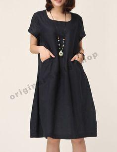 Dark Blue linen dress cotton dress casual by originalstyleshop, $55.00