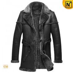 Men's Designer Black Fur Shearling Sheepskin Coat CW878578