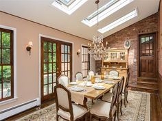 Dining room of luxury home in Lloyd Neck, New York