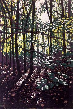 Summer Woodland Glow (2016) Linocut by Alexandra Buckle | Artfinder