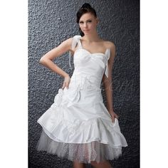 Charming One-Shoulder A-line/Princess Sleeveless Short/Mini -Length Polina's Wedding Dress 9684324 - Beach Wedding Dresses - Dresswe.Com (625 AUD) found on Polyvore