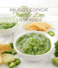 Abuelo& Copycat Tomatillo Lime Salsa - The Chunky Chef Tomatillo Salsa Verde, Tomatillo Recipes, Salsa Verde Recipe, Tomatillo Sauce, Chef Recipes, Copycat Recipes, Raw Food Recipes, Appetizer Recipes, Healthy Snacks