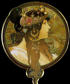 """""""La Brunette"""" (1897) ~ Alphonse Mucha ~ Click through the large version for a full-screen view on a black background (set your computer for full-screen). ~ Miks' Pics """"Alphonse Mucha"""" board @ http://www.pinterest.com/msmgish/alphonse-mucha/"""
