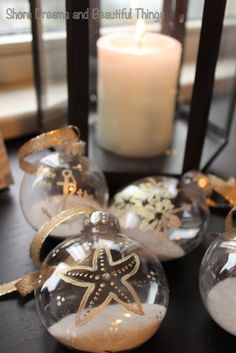 Shore Dreams and Beautiful Things DIY Coastal Christmas Decorations Could add sand from vacation Beach Christmas Ornaments, Coastal Christmas Decor, Nautical Christmas, Tropical Christmas, Christmas Balls, Christmas Holidays, Christmas Crafts, Christmas Decorations, Holiday Decor