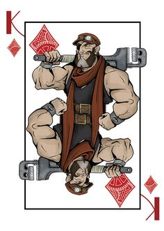 King of Diamonds from the Deck of Amazing Adventurers which is a fully custom 56 card steampunk themed Bicycle® playing card deck, manufactured by USPCC