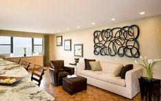 salon moderno diseño comedor sofa cuero marron