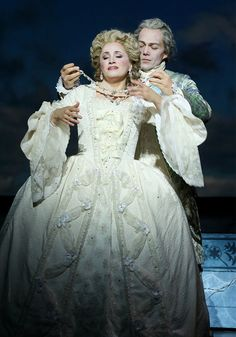 LA Opera - The Ghosts of Versailles The spirits of Marie Antoinette (Patricia Racette) and Beaumarchais (Christopher Maltman)