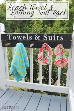 Sick and tired of wet suits and towels laying on the floor? Create this perfect little beach towel and bathing suit rack that help eliminate this problem!