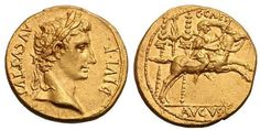 Augustus AV Aureus. Lyons mint, 9-8 BC. AVGVSTVS DIVI F, laureate head right / C CAES, Caius Caesar galloping right, eagle between two standards behind, AVGVS F below.