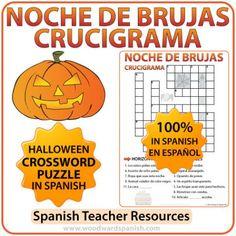 Spanish Halloween Crossword. Crucigrama con vocabulario acerca de la Noche de Brujas en español.