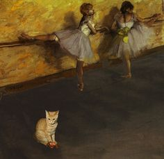 Ballet Class Visitor (Degas) Cat Art by Deborah Julian