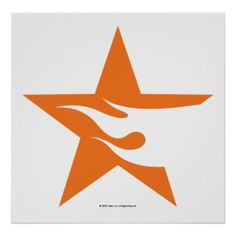 Orange Star with Flame Logo Poster
