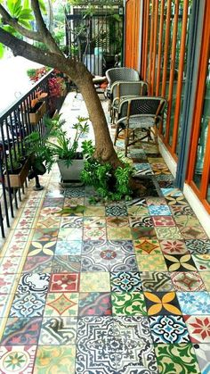 24 Classic Painted Floor Tiles Get An Artistic Floor - Mosaic flooring, Paintin. - 24 Classic Painted Floor Tiles Get An Artistic Floor – Mosaic flooring, Painting tile floors, Ti - Tiny Balcony, Balcony Tiles, Balcony Design, Patio Design, Patio Tiles, Small Terrace, Concrete Tiles, Pergola Designs, Balcony Flooring