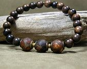 Mens Bracelet - Wood Bracelet - Mans Jewelry - Mens Fashion - Beaded Bracelet - Stretch Bracelet
