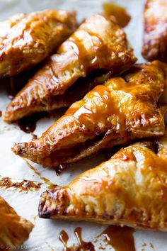 Super easy, flaky hot apple turnovers with delicious salted caramel on top…