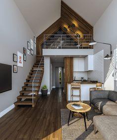 Small Modern Cabin, Modern Small House Design, Modern Barn House, Small Tiny House, Small Houses, Loft House Design, Minimal House Design, Minimal Home, A Frame House Plans