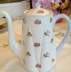 RARE Shelley Rose Pansey Forget Me not Coffee Pot 13424 Fine Bone China