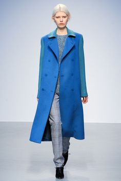 Great coat with two tone blue based palette at Richard Nicoll.  Richard Nicoll Fall 2014 Ready-to-Wear Collection Slideshow on Style.com