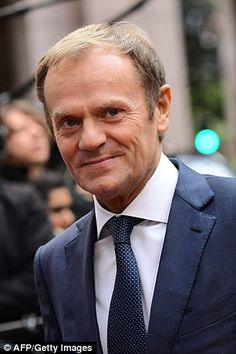 EU chief Donald Tusk, pictured, issued a rallying cry for the remaining 27 EU member states to unite in order to face up to the controversial, publicly anti-EU US President. Not only do these unelected fools that now govern most of Europe treat Britain with contempt, they also treat the USA with contempt and lack of respect after they saved their damned necks in WW2. More fool you, people of the United States for paying Germany tens of millions of dollars each day of the year for their cars!