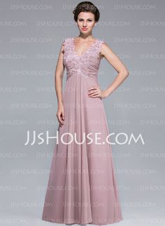 Mother of the Bride Dresses - $152.99 - A-Line/Princess V-neck Floor-Length Chiffon Mother of the Bride Dress With Ruffle Lace (008025768) http://jjshouse.com/A-Line-Princess-V-Neck-Floor-Length-Chiffon-Mother-Of-The-Bride-Dress-With-Ruffle-Lace-008025768-g25768