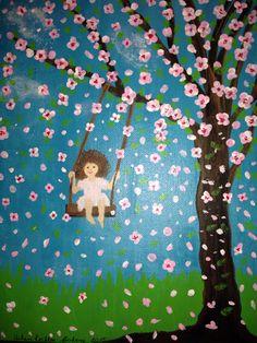 Matilda en el columpio, pintura de Helen R Cofone, acuarelas.