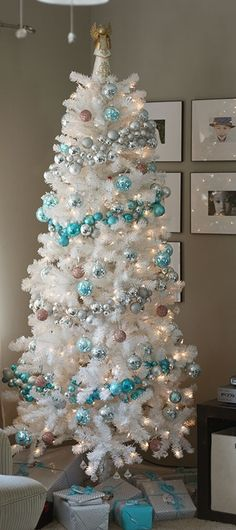 tiffany blue christmas - White Christmas Tree With Blue And Silver Decorations
