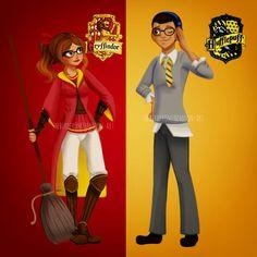 TheBirdFromTheMoon-Art | Miraculous Ladybug | Alya | Nino | Harry Potter | Gryffindor | Hufflepuff